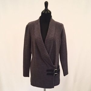 Cynthia Rowley 100% Merino Wool Gray Sweater Coat
